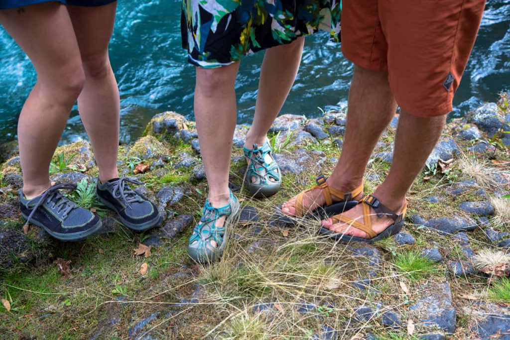 Our Favorite River Shoes, from Left to Right: Astral Brewers, Keen sandals, and Chaco Sandals