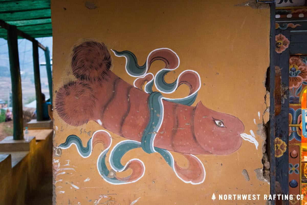 Phallus painting on a building in Bhutan
